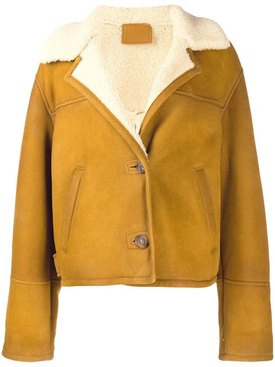 Prada buttoned shearling cropped jacket - Neutrals