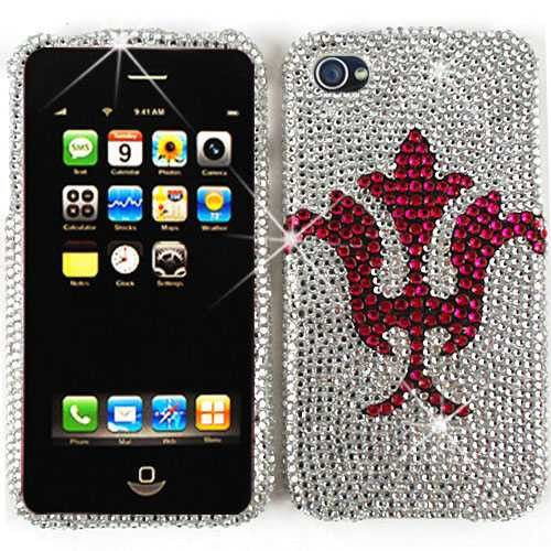 Unlimited Cellular Snap-On Case for Apple iPhone 4/4S (Full Diamond Crystal, Pink Flower on Silver)