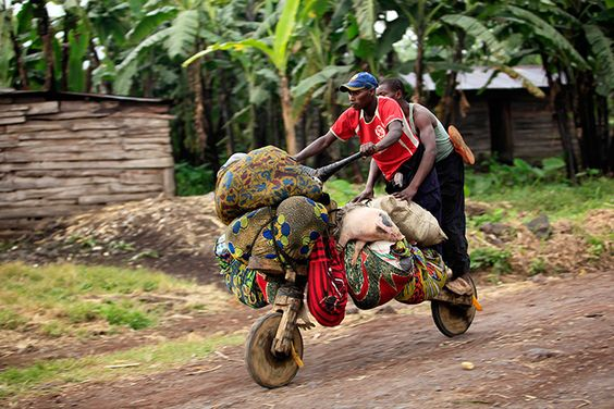 Goma, Democratic Republic of Congo: People ride with their belongings on a wooden bicycle as they flee from renewed fighting between the Congolese army and M23 rebels Photograph: James Akena/Reuters