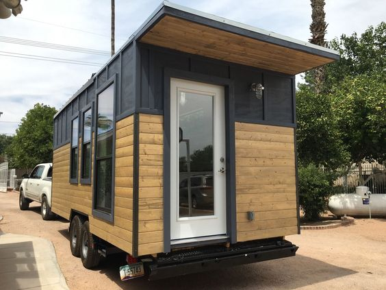 This is a modern industrial tiny house on wheels Its located in