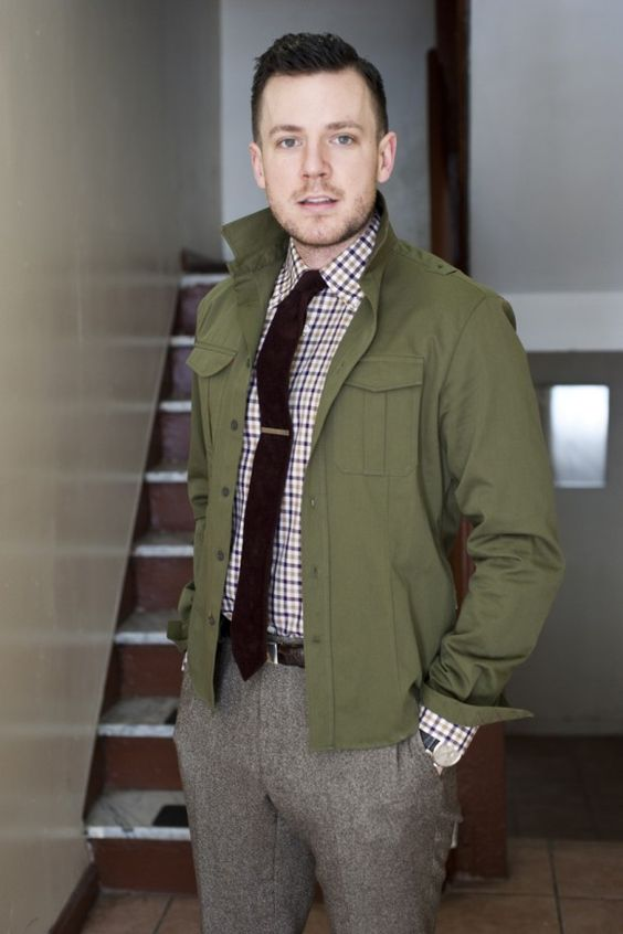 Overshirt &39shacket&39 layering love the tweed pants—Olive green