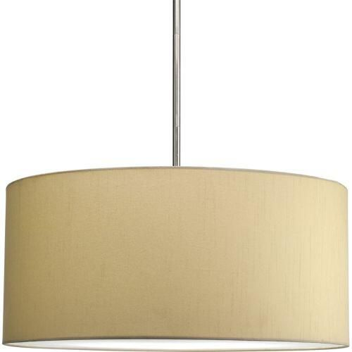 "Progress P8825-01 22"" drum shade modular pendant system in Beige Silken Fabric finish. Fixture - Guaranteed Lowest Price"