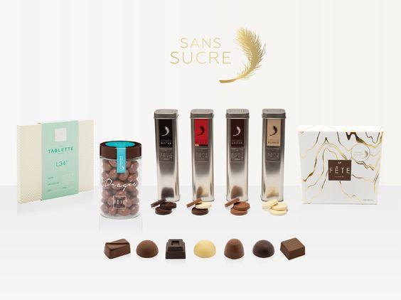 Presentamos nuestra completa línea Sans Sucre: Tablette, Dragée, bombones rellenos y tubos