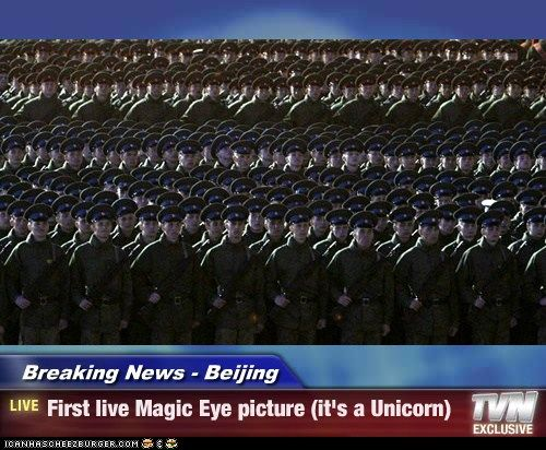 Breaking News - Beijing - First live Magic Eye picture (it's a Unicorn)