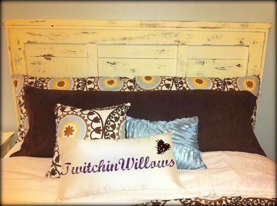 Queen Reclaimed Shabby Chic Rustic Headboard  - dark stain for the boys room?