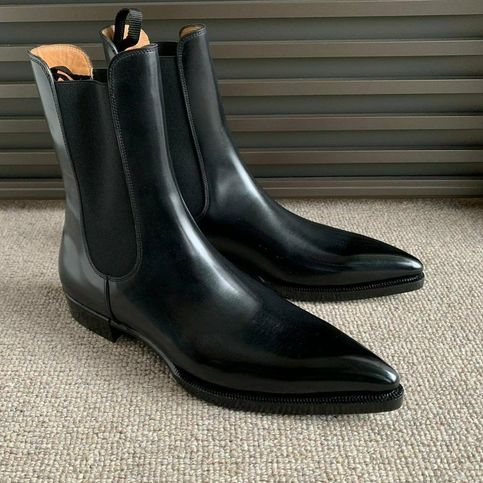 mens black pointed chelsea boots