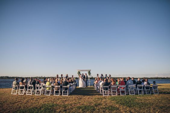 Fall Island House Wedding featuring our bride Erin in @pronovias! @richardbell #silkgown #dropwaistgown