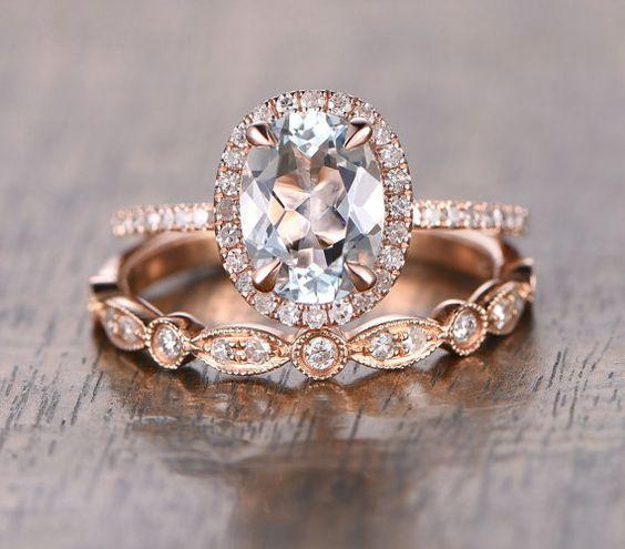 Oval Aquamarine Diamond Halo Engagement Ring by OliveAvenueJewelry