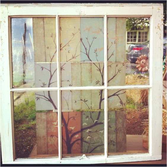 Old window - added wall decals- more projects for the living room!