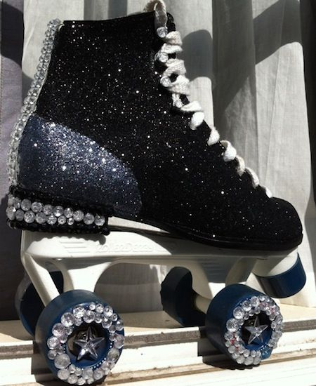 Sparkle-rific Roller Skates - I would love to have these!! Mine were white with lavender pom poms on the top and lights on the bottom.