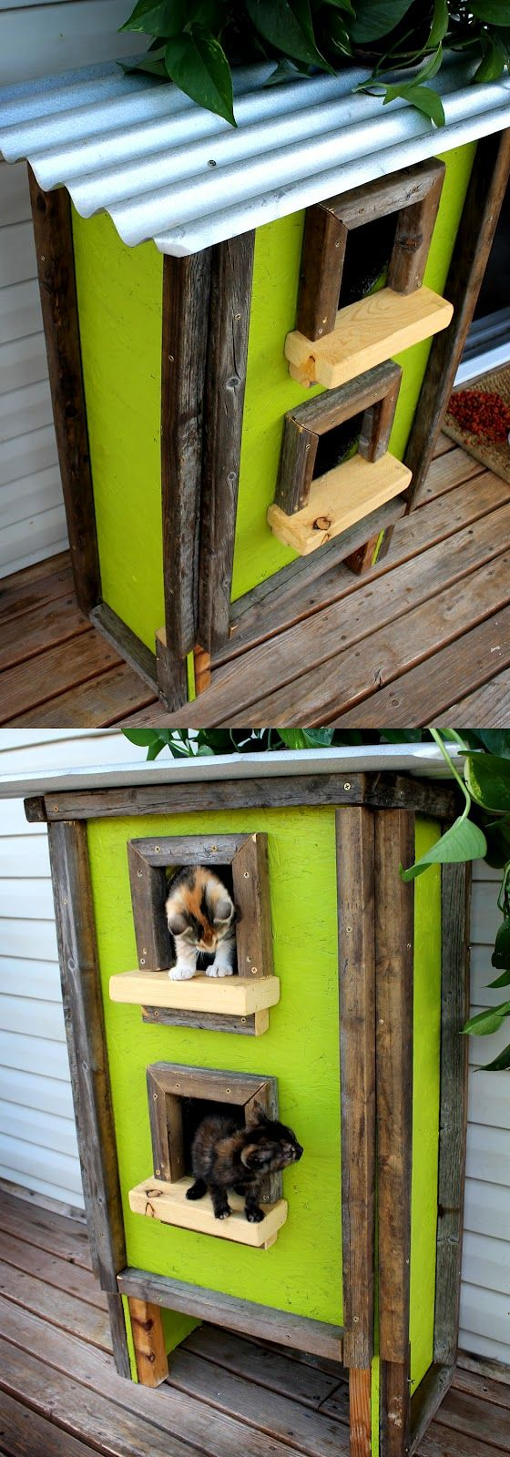 Customized Outdoor Cat House ... she doesn't give any how to instructions but we built one ourselves & had wood & the sheet metal roofing that I'd gotten off craigslist for free to make ours, we painted it the same color as our house to blend in and it has two levels, plexiglass windows & we insulated it with house insulation that we had left over sandwiched between the outside wall & the inside wall .......... #DIY #cathouse #cat #diypetprojects #wood #metalroofing #screws #carpet…