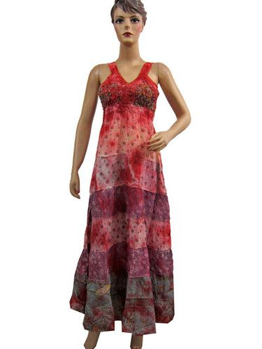 Women Bohemian Long Sundress Tie Dye Dress Alluring Crochet Neckline Maxi Dress | eBay