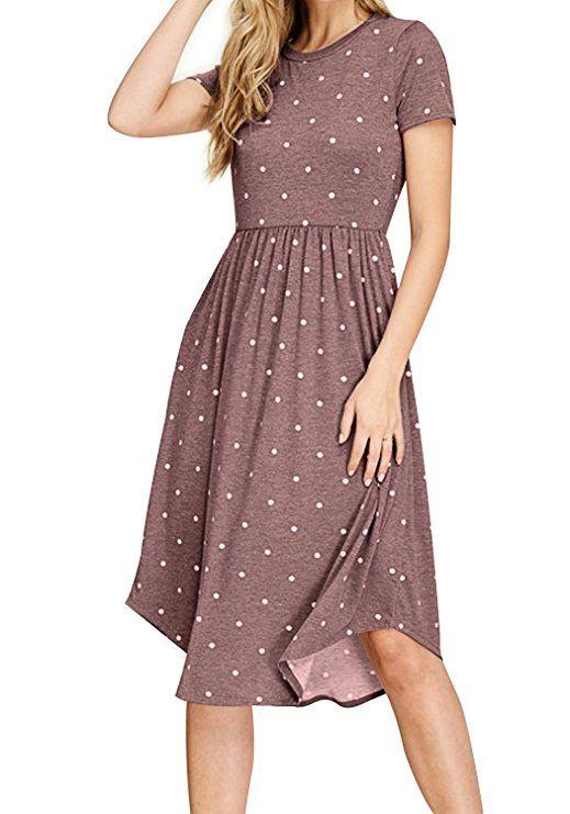 Simier Fariry Womens Summer Polka Dot Pockets Loose Casual Midi Dress  Coffee M | Midi dress casual, Midi swing dress, Dresses with sleeves