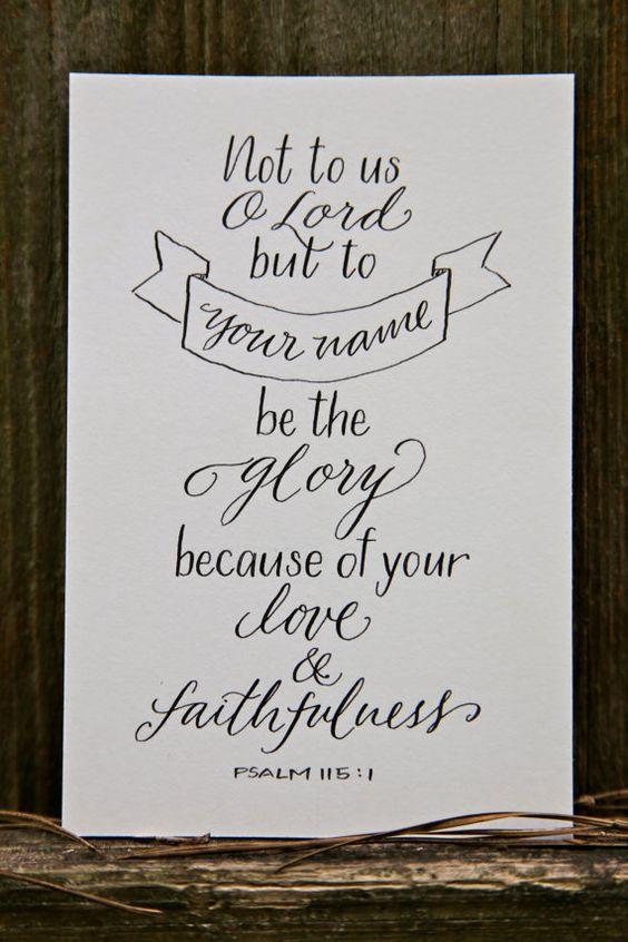 Hand Lettered Scripture Print Psalm 115 1 Bella