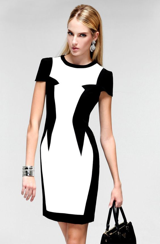 Morpheus Boutique  - Black White Color Block Cap Sleeve Desinger Pencil Dress, CA$102.55 (http://www.morpheusboutique.com/black-white-color-block-cap-sleeve-desinger-pencil-dress/)