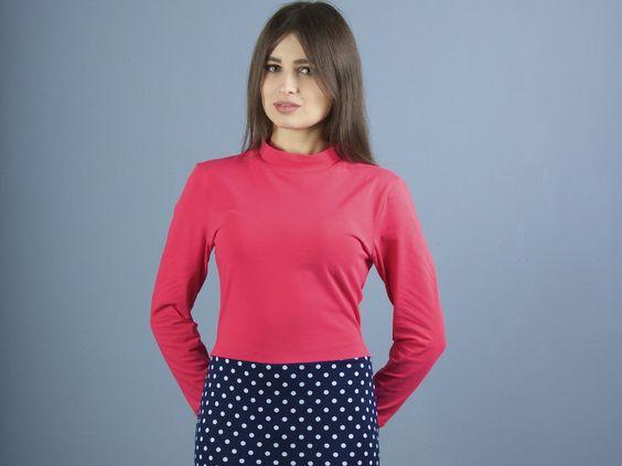 Stretchkleider - NARA ® Shirtkleid mit Hochgeschlossene Kragen - ein Designerstück von Berlinerfashion bei DaWanda