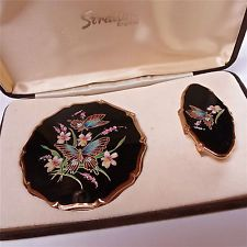 VINTAGE SIGNED STRATTON ENAMEL BUTTERFLY POWDER COMPLACT & LIPSTICK HOLDER