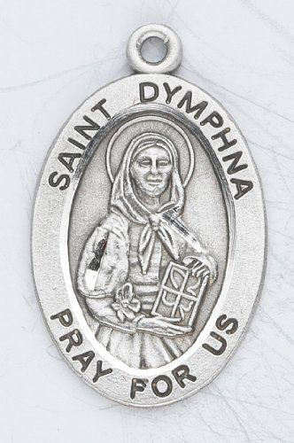 "Sterling Silver Oval Medal Necklace Patron Saint St. Dymphna with 18"" Chain in Gift Box HMHRegina,http://www.amazon.com/dp/B003QI239E/ref=cm_sw_r_pi_dp_dJqOsb0HWH8S1WYK"