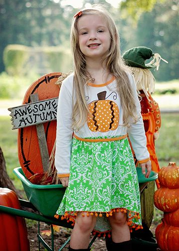 Halloween Damask & Polka Dots Pumpkin High-Low Pom Pom Dress