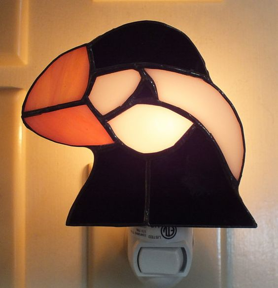 Puffin Sun Catcher or Night Light by InnerGarden on Etsy $16