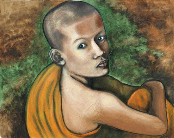 Young Monk. Acrylic, on paper, on canvas painting by Heather Bond