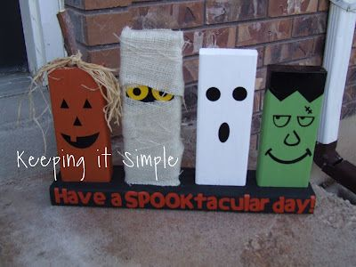 Halloween characters made with 2x4 wood