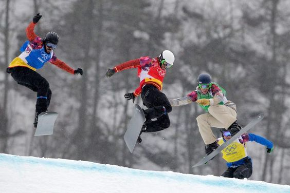 DAY 12:  (L-R) Regino Hernandez of Spain, Lucas Eguibar of Spain, Alex Deibold of the United States and Lluis Marin Tarroch of Andorra compete in the Men's Snowboard Cross http://sports.yahoo.com/olympics