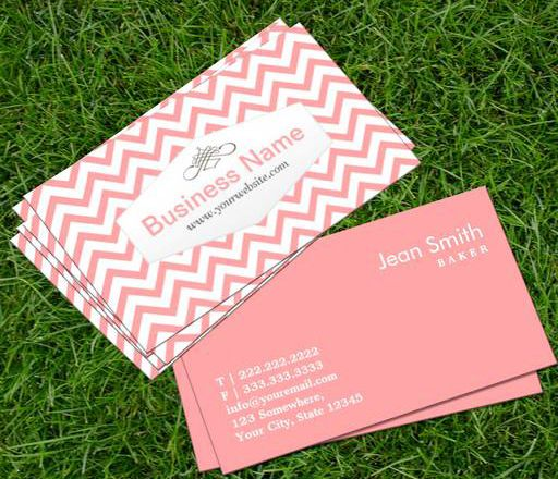 Stylish Pink Chevron Baker Business Card This great business card design is available for customization. All text style, colors, sizes can be modified to fit your needs. Just click the image to learn more! | bizcardstudio.co.uk