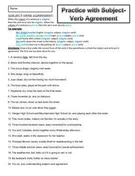 Worksheets Subject Verb Agreement Worksheets High School comprehension english and student on pinterest subject verb agreement worksheets see all of my grammar in store on