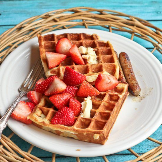 Ricotta Yogurt Waffles with Strawberries Lightly Macerated in Sugar ...