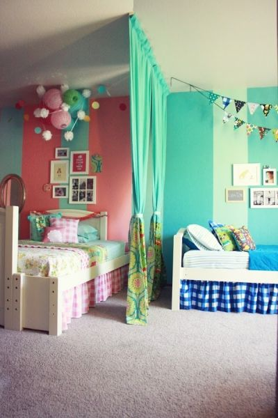 18 Shared Bedroom Ideas for Kids | Lil Blue Boo. Boy and girl shared room with divider via Life Made Lovely: