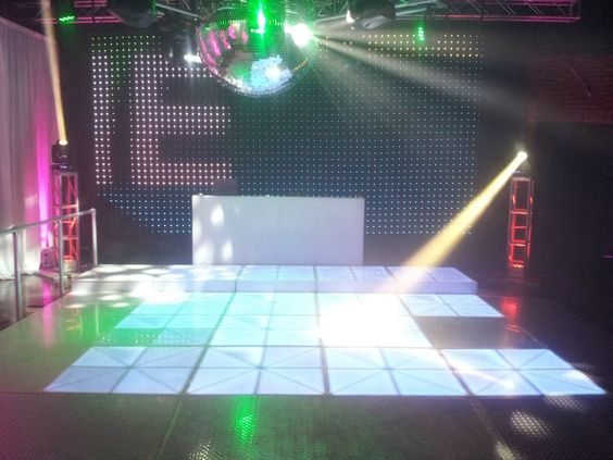 LED Night Club with LED Panel Dance Floor, and LED Message Backdrops, Giant Disco Ball and truss Pillars with 360 Degree Intel's.