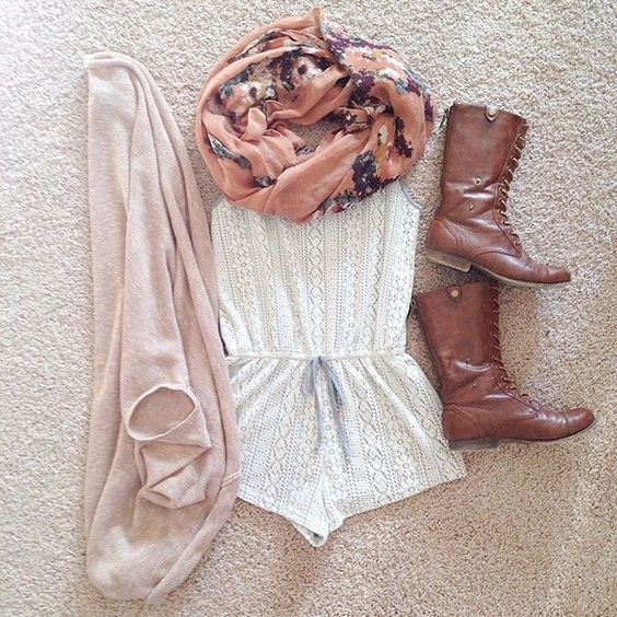 Pair your romper with a scarf and combat boots for an outfit that's perfect for spring or fall weather.:
