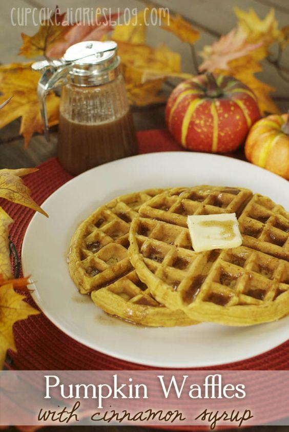 Pumpkin Waffles with Cinnamon Syrup on MyRecipeMagic.com