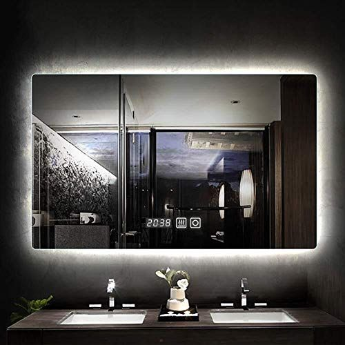 Bathroom Mirror Led Vanity Mirror Silver Frameless Wall Mounted Mirror Touch Switch Defogging Swi In 2020 Wall Mounted Mirror Bathroom Mirror Makeup Mirror With Lights