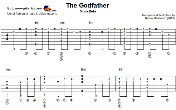 Guitar u00bb Godfather Guitar Tabs - Music Sheets, Tablature, Chords and Lyrics