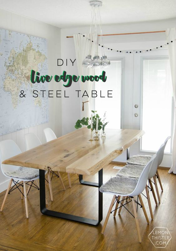 DIY Live Edge Wood Dining Room Table with Steel Legs... uhhhhm love this! So modern but rustic: