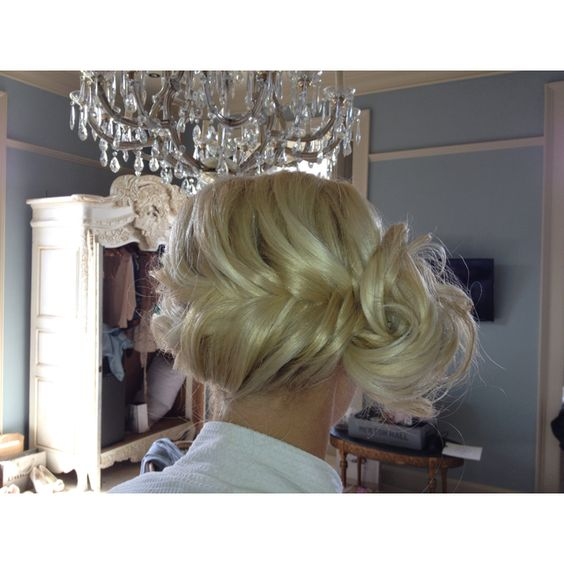 Side was fishtail weave finished with a side chignon bridemaids hair from wedding 11.05.12