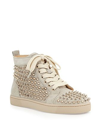 CHRISTIAN LOUBOUTIN Louis Spiked Suede High Top Sneakers In Colombe