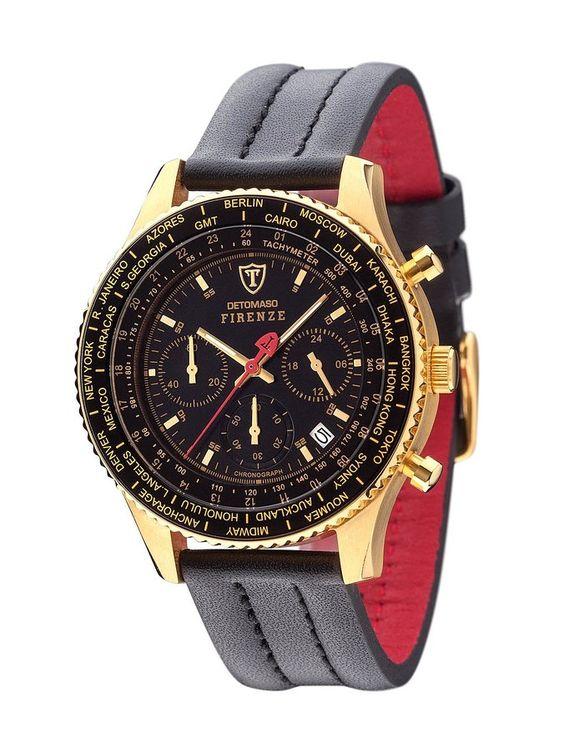 DETOMASO Men's SL1624C-GD FIRENZE Chronograph Trend Schwarz/Schwarz Analog Display Japanese Quartz Black Watch