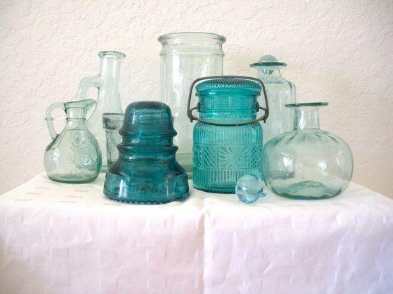 Collection of  8 Vintage Turquiose/Aqua Glass.: Ceramic Pottery Glass, Color Schemes, Neat Stuff, Collections Vignettes, Aqua Turquiose, 72 To 00, Aqua Glass