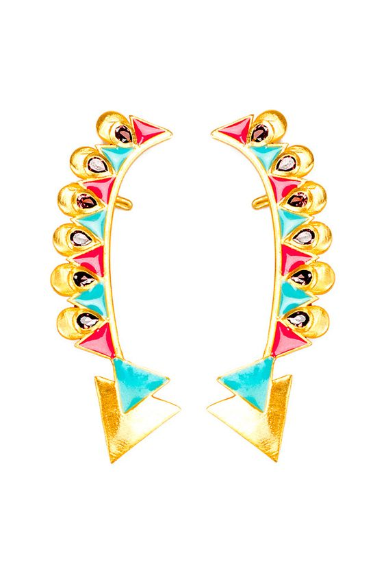 Green and Turquoise Triangular Earcuffs. Shop earrings and women's accessories at Bazzzar.com