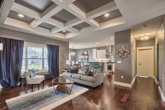 Coffered ceiling design.