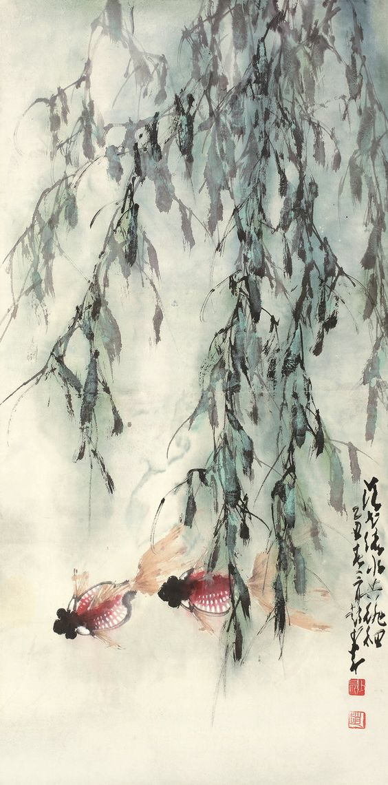 Japanese willow tree with Carp