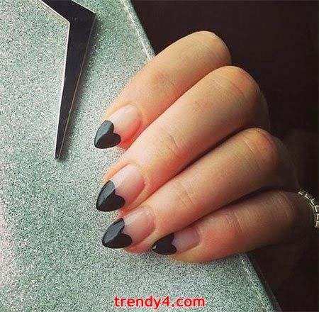 Heart nails that aren't overly girly or feminine.