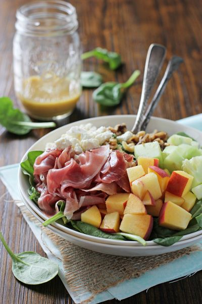 Peach and Prosciutto Salad with Honey Mustard Vinaigrette - Cookie Monster Cooking