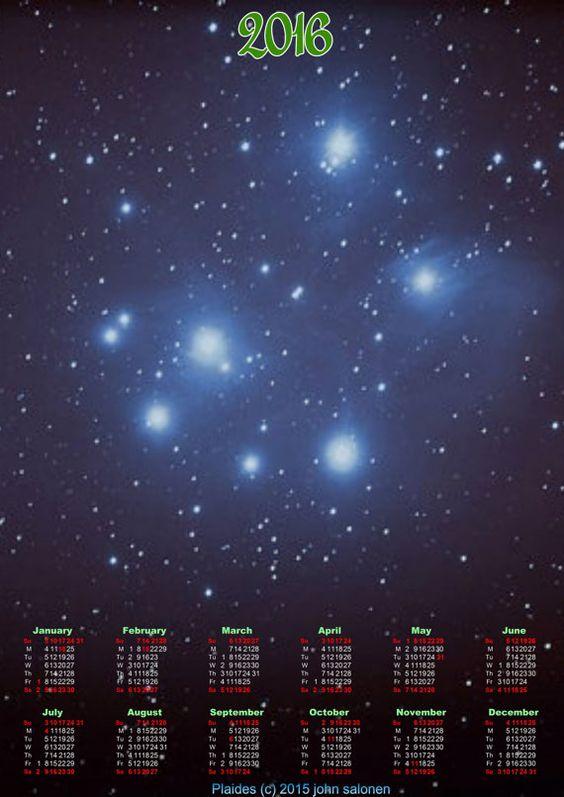 """2016 Plaides 7 Sisters Nebula Calendar Original Astrophotography 13""""x19"""" Calendar 2016"""