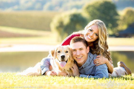 Engagement session with their sweet dog   Virginia Wedding Photographer   Aaron Watson Photography