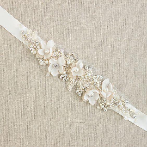 Cinturón de novia cinturón nupcial fajas de correas por LeFlowers