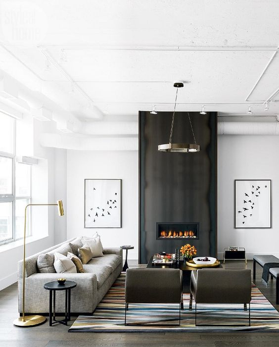 Toronto chic and fireplaces on pinterest for Edgy living room ideas